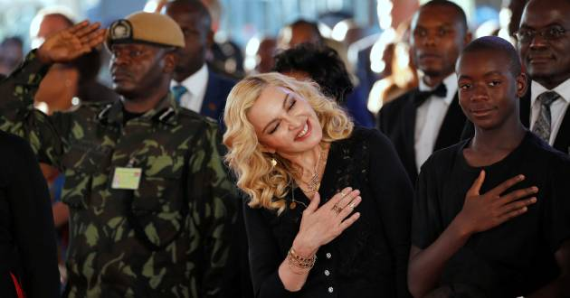 US pop star Madonna reacts during the opening of her Mercy James hospital in Blantyre, Malawi, July 11, 2017. REUTERS/Siphiwe Sibeko