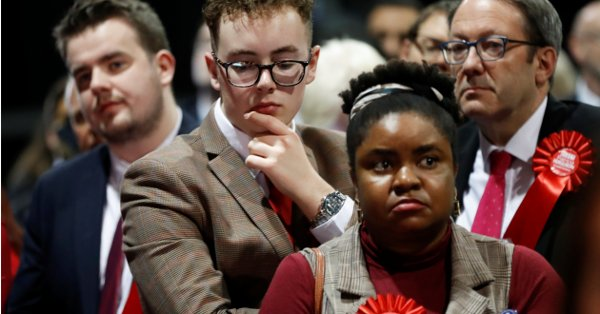 Dejected Labour party members after the election defeat