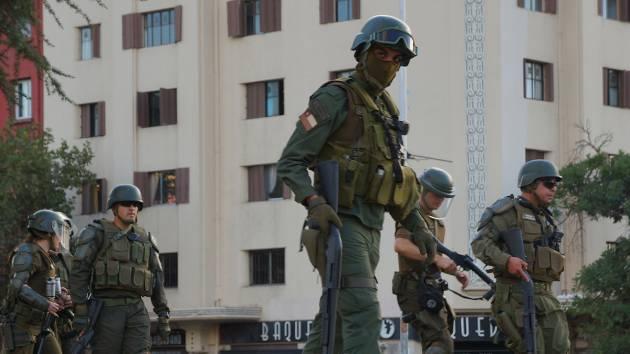 Soldiers patrol Santiago, Chile. (February, 2020) Credit: Daniel Guzman Espinoza