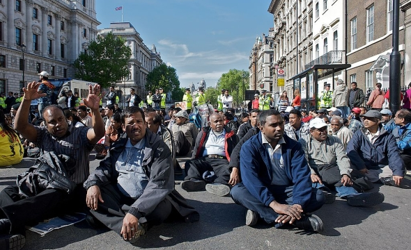 Sit down protest in London