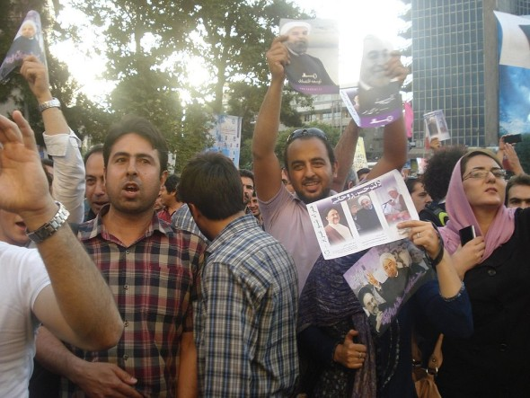 Supporters of President Rouhani