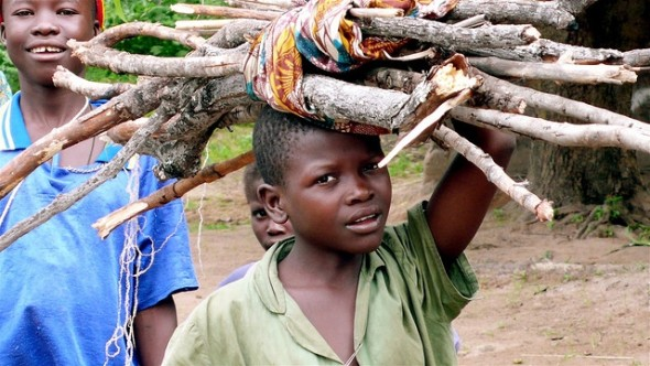 Children carrying wood in CAR