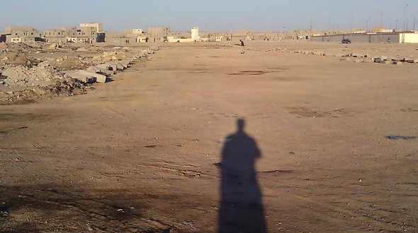 Shadow of person in Western Sahara