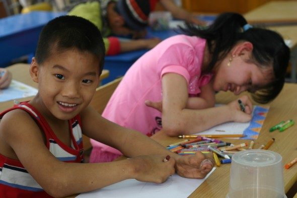 Children drawing in Vietnam