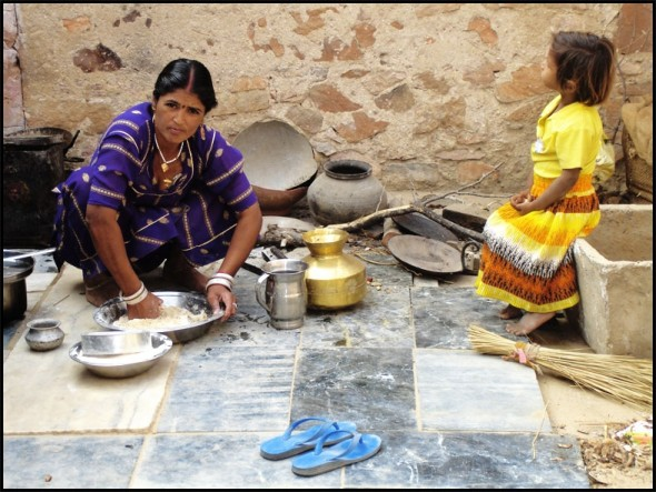 Indian mother cooking