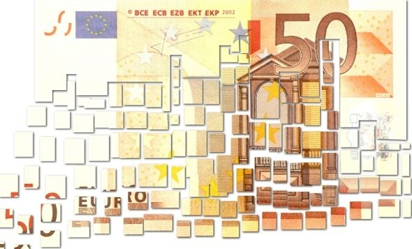 Euro note cut up