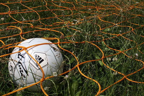 football caught in a net
