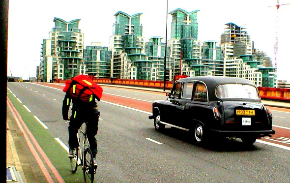 Courier and cab in London
