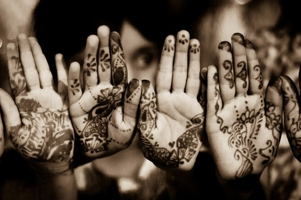Hennaed hands for Eid
