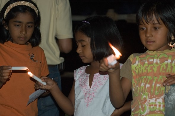Indian children with candles