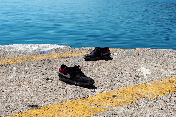 Refugee shoes, Lesbos, Greece
