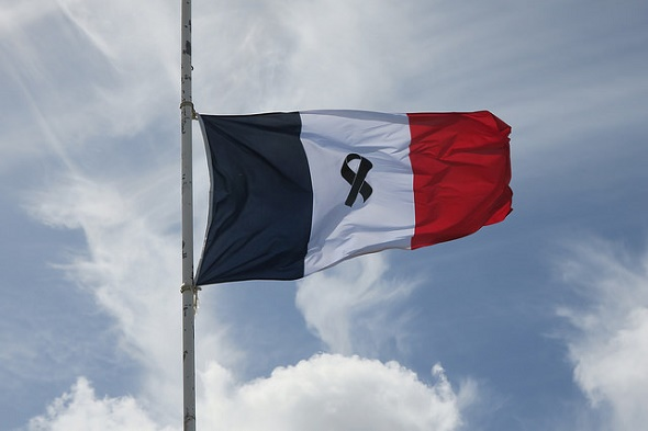 French flag at half-mast