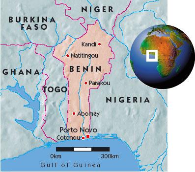 a map of benin. Map of Benin
