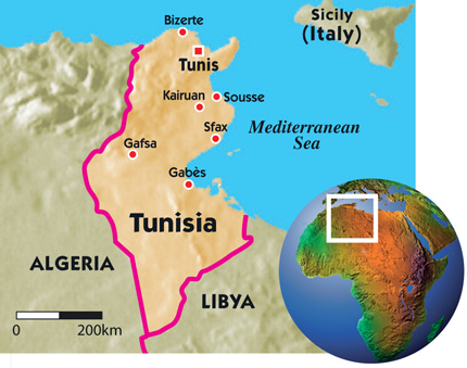Tunisia New Internationalist - Tunisia country political map
