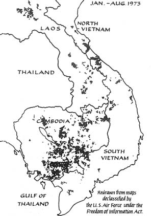 The US bombing pattern in Indochina from January 1973 until August when Congress stepped in to stop the damage being inflicted by the Nixon / Kissinger White House.  Map reproduced from