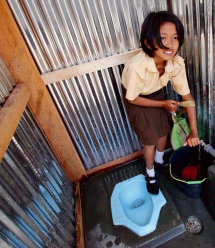 her new school toilet