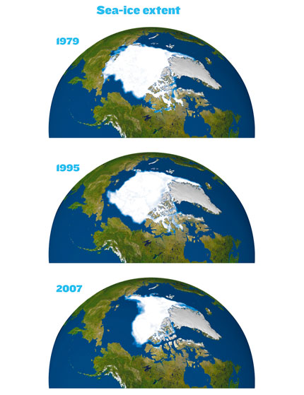 Sea-ice extent in 1979, 1995 & 2007.