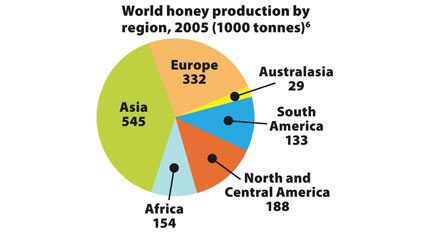 World honey production by region, 2005 (1000 tonnes) (6)
