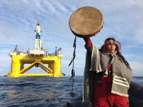First Nations activist confronts oil rig