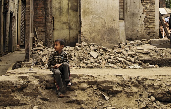 Child in Nepal after earthquake