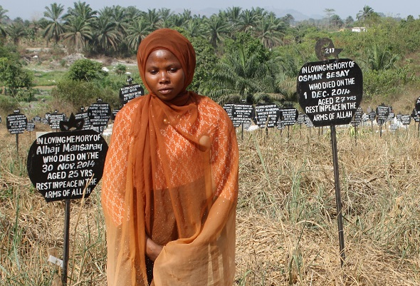 Mariama at the burial site