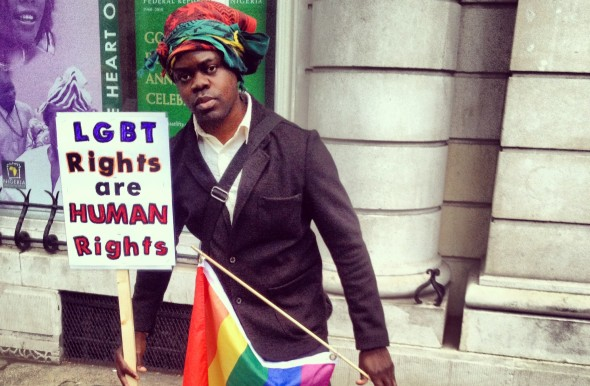 Protester outside Nigerian High Commission [Related Image]