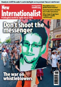Cover of New Internationalist whistleblower issue