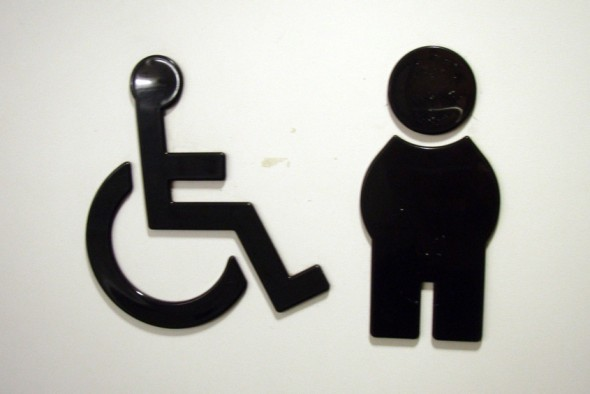 Wheelchair and able bodied person signs