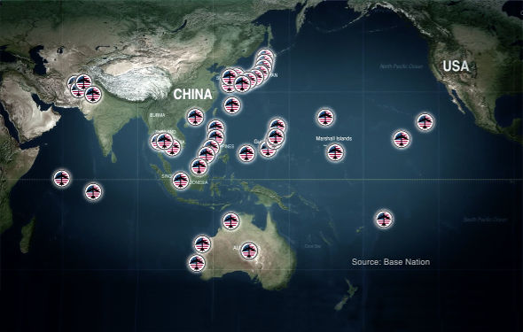 Today More Than 400 American Military Bases Encircle China With Missiles Bombers Warships And Nuclear Weapons