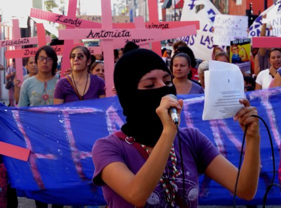 A Protest Against Violence Women In Puebla April 2016 The Pink Crosses Represent Individual Murdered