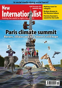 Front cover of November 2015 issue of New Internationalist