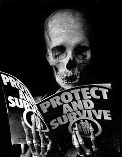 Macabre humour attacking the British Government's civil defence pamphlet, Protect and Survive'.