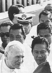 The Pope, President Marcos and friends. Photo: Camera Press