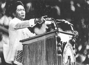 Marcos: still pointing the finger at the alternative media. Photo: Camera Press/Jungkwan Chi