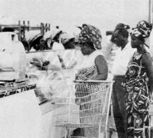 Wealthy Africans in a Kinshasa supermarket: a political pressure point.