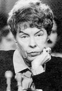 'Prussian' Jeane Kirkpatrick, US Ambassador to the UN and member of Reagan's Cabinet.