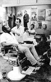 Bluefields. Barber's shop where international voluntary workers are given free haircuts.