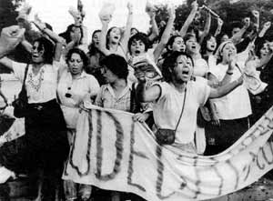 One of the popular protests by women against Pinochet.