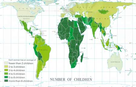 Average number of children each women has.