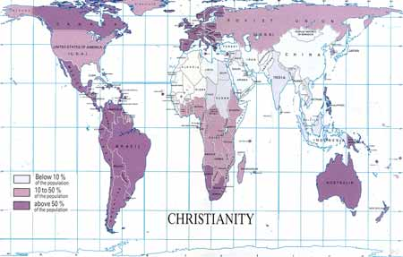 Christianity as a percentage of the population.