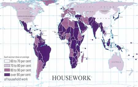 Average percentage of housework done by women.