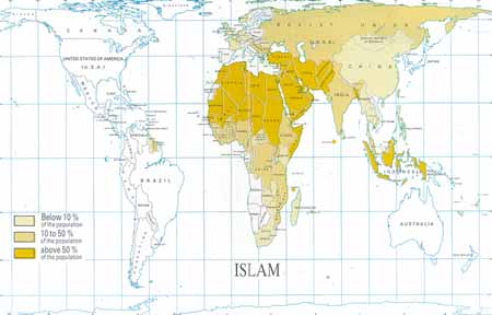 The Islamic religion as a percentage of the population.