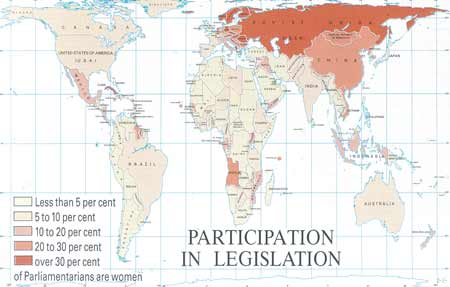 Participation of women in legislation.