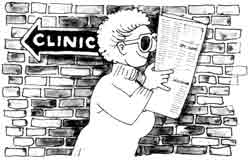 Woman in sunglasses walking away from a sign pointing towards a clinic