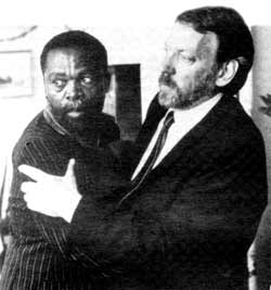 Wrestling with apartheid: Zakes Mokae and Donald Sutherland.
