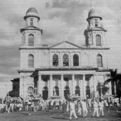 Falling to Domino's: the shaky shell of the old cathedral in Managua.