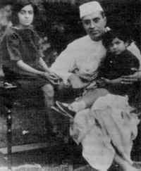Nehru in the 1920's when he was a dangerous rebel rather than a Prime Minister. His daughter Indira, later to lead India herself, is on the left.