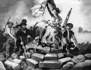Illustration by CLIVE OFFLEY (Based on the painting LIBERTY LEADING THE PEOPLE by DELACROIX)