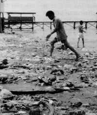Garbage covers the sand along Manila Bay.