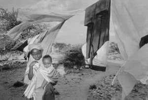 Refugees outside their camp in Hargeisa, Somaliland.